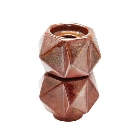 Lazy Susan 857133/S2  Small Ceramic Star Candle Holders - Russet. Set Of 2 - Peazz.com