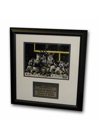 "Adam Vinatieri ""Snow Kick"" 8X10 Framed Photo With Nameplate - Peazz.com"