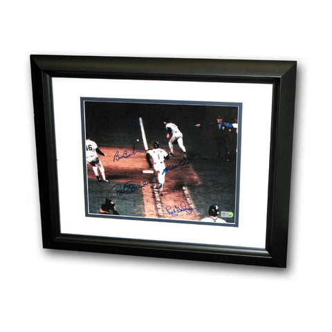Bill Buckner/Mookie Wilson Dual Signed 8X10 Framed Photo of The Famous 1986 World Series Game 6 Play. - Peazz.com