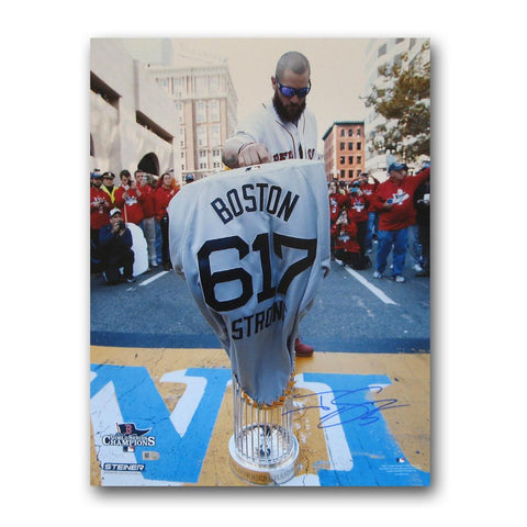 Autographed Jonny Gomes 16-by-20 inch unframed Boston Marathon finish line photo. - Peazz.com