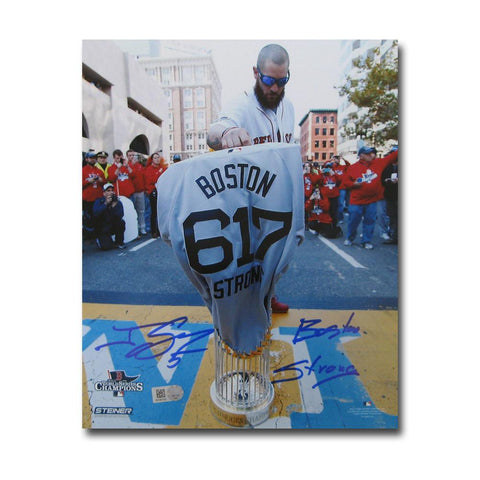 "Autographed Jonny Gomes 8-by-10 inch unframed Boston Marathon finish line photo inscribed ""Boston Strong"". - Peazz.com"