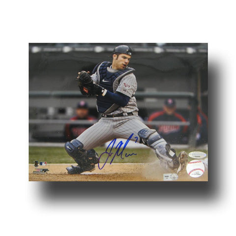 "Autographed Joe Mauer 8x10 unframed photo inscribed ""#7"". The photo is of Joe blocking home plate. In 2009, - Peazz.com"