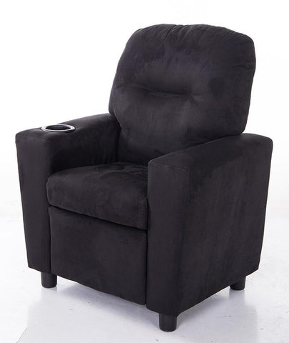 Mochi Furniture KR2056BK Comfortable KR2056BK Black Microfiber Kids Recliner with Cup Holder - Peazz.com