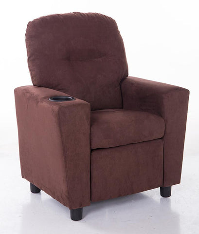 Mochi Furniture KR2056BRN Comfortable KR2002BRN Brown Microfiber Kids Recliner with Cup Holder - Peazz.com