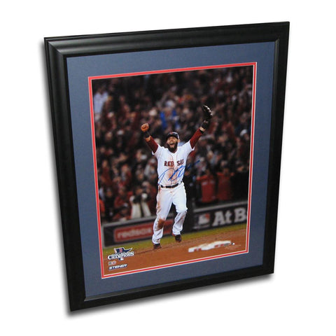 Dustin Pedroia autographed 2013 World Series 16x20 framed last out celebration photo. - Peazz.com