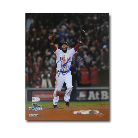 Autographed Dustin Pedroia 2013 World Series Unframed 8x10 last out celebration photo. - Peazz.com
