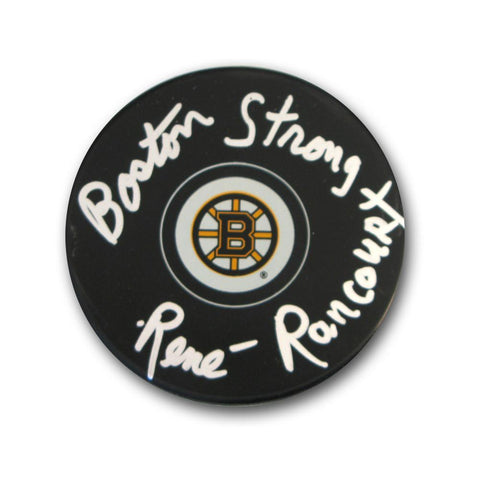 "Autographed Rene Rancourt Boston Bruins puck inscribed ""Boston Strong"". Sports Images is giving ALL the profits and more and this event - Peazz.com"