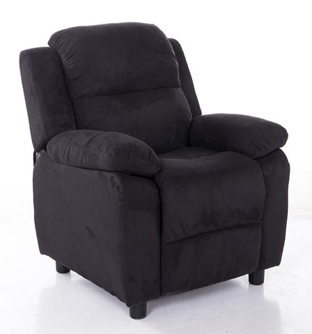 Mochi Furniture KR2063BK Comfortable KR2056BK Black Microfiber Kids Recliner - Peazz.com
