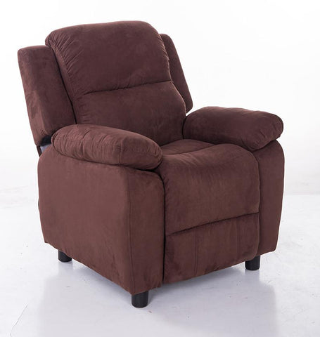 Mochi Furniture KR2063BRN Comfortable KR2002BRN Brown Microfiber Kids Recliner - Peazz.com
