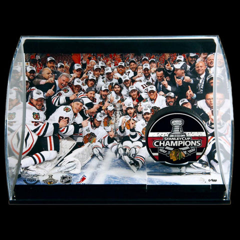 Chicago Blackhawks Stanley Cup Champions Horizontal Curve Display With Commemorative 8X10 And Puck 77472 - Peazz.com