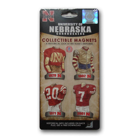 4 Pack Uniform Magnet Set - Ncaa - University of Nebraska - Peazz.com