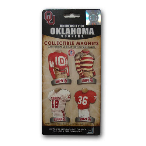 4 Pack Uniform Magnet Set - Ncaa - University of Oklahoma - Peazz.com