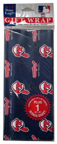 2-Packages of MLB Gift Wrap - Indians - Peazz.com
