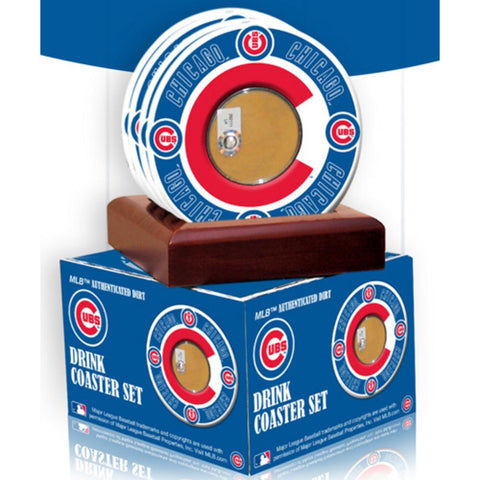 2010 Game Used Dirt In Chicago Cubs Logo Set of 4 Coasters (MLB Authenticated) - Peazz.com