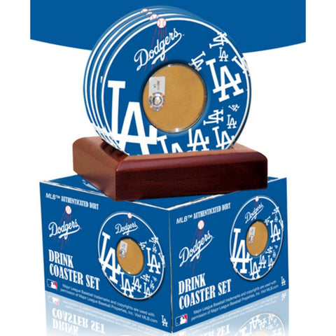 2010 Game Used Dirt In Los Angeles Dodgers Logo Set of 4 Coasters (MLB Authenticated) - Peazz.com
