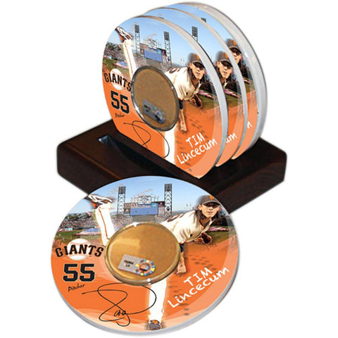 Game Used Dirt Coasters (Set of 4) - San Francisco Giants Tim Lincecum - Peazz.com