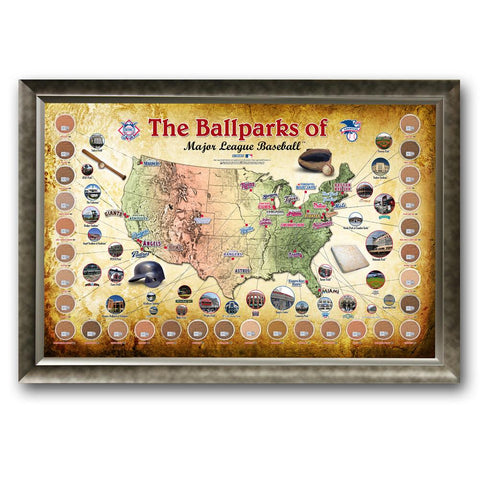 Major League Baseball Parks Map 20x32 Framed Collage with Game Used Dirt From 30 Parks - Peazz.com