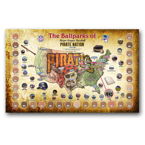 "Major League Baseball Parks ""Map"" 20x32 Framed Collage w/ Game Used Dirt From 30 Parks - Pirates Version - Peazz.com"