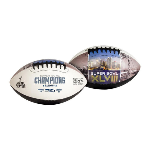 Superbowl 48 Champions Full Size White panel football - Peazz.com
