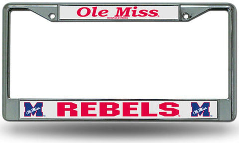 Chrome License Plate Frame - Mississippi Rebels - Peazz.com