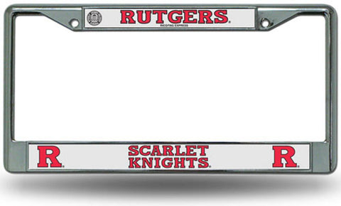 Chrome License Plate Frame - Rutgers Scarlet Knights - Peazz.com