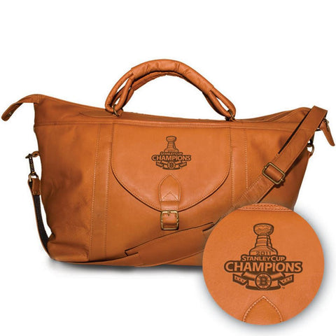 Pangea Tan Leather Top Zip Travel Bag - Stanley Cup Champions Boston Bruins - Peazz.com