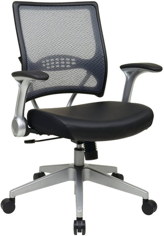 Office Star Space Seating 67-E36N61R5 2-to-1 Synchro Tilt Light Professional AirGrid® Back and Black Eco Leather Seat Managers Chair with Flip Arms and Angled Platinum Coated Base - Peazz.com