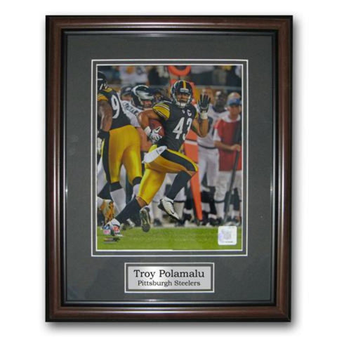 Treehugger 11X14 Unsigned Framed Photo - Pittsburgh Steelers Troy Polamalu - Peazz.com