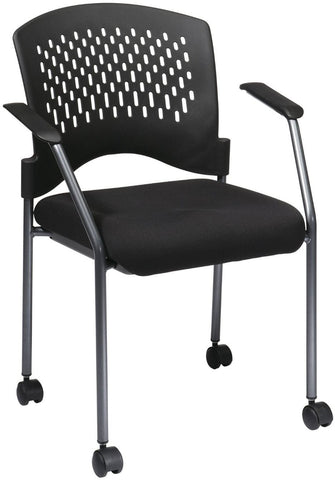 Office Star Pro-Line II 8640-30 Titanium Finish Rolling Black Visitors Chair with Casters, Arms and Ventilated Plastic Wrap Around Back - Peazz.com