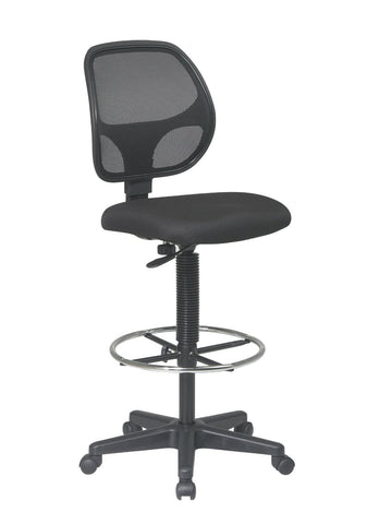 "Office Star Work Smart DC2990V Deluxe Mesh Back Drafting Chair with 20"" Diameter Foot ring - Peazz.com"