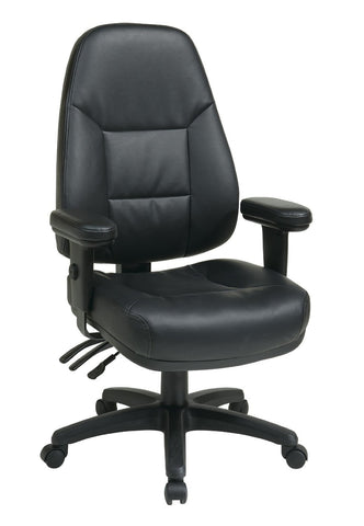 Office Star Work Smart EC4300-EC3 Professional Dual Function Ergonomic High Back Leather Chair with Adjustable Padded Arms - Peazz.com