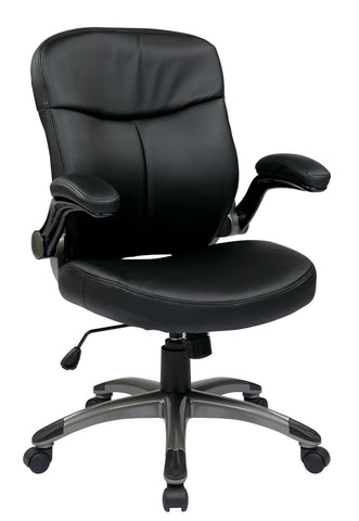 Work Smart ECH37816-EC3 Executive Mid Back Eco Leather Chair with Adjustable Padded Flip Arms - Peazz.com