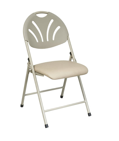 Office Star Work Smart FC8100NBG-11 Folding Chair with Beige Plastic Fan Back and Beige Mesh Seat (4-Pack) - Peazz.com