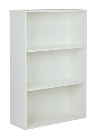 "Pro-Line II PRD3248-WH Prado 48"" 3-Shelf Bookcase with 3/4"" Shelves and 2 Adjustable shelves in White. - Peazz.com"