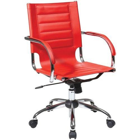 Office Star Ave Six TND941A-RD Trinidad Office Chair With Fixed Padded Arms and Chrome Finish in Red - Peazz.com