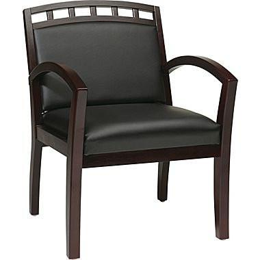Office Star Work Smart WD1643-U6 Fabric or Faux Leather Mahoagny Finish Leg Chair with Upholstered Wood Crown Back (1 Pack) - Peazz.com