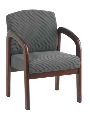 Office Star Work Smart WD383-320 Mahogany Finish Wood Visitor Chair with Charcoal Colored Fabric - Peazz.com