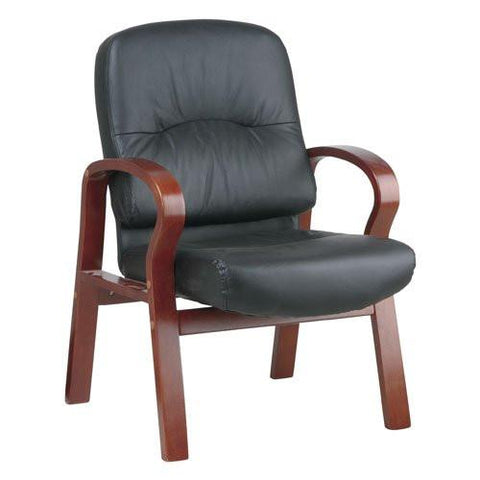 Office Star Work Smart WD5675-EC3 Eco Leather Visitors Chair with Cherry Finish Wood Base and Arms - Peazz.com
