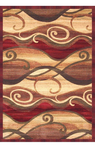 Bayden Hill 2013-8x10 Essentials Waves Rust/Sage/Red/Tan Area Rug - Peazz.com