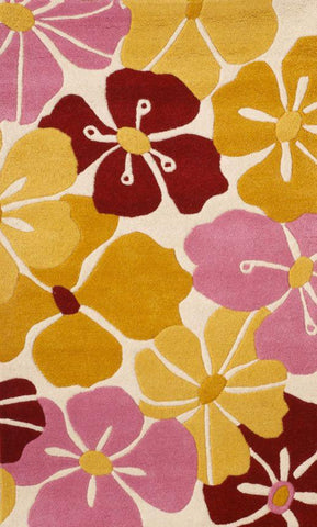 Abacasa 1015 Kids Petals Gold/Pink/Red Area Rug - Peazz.com