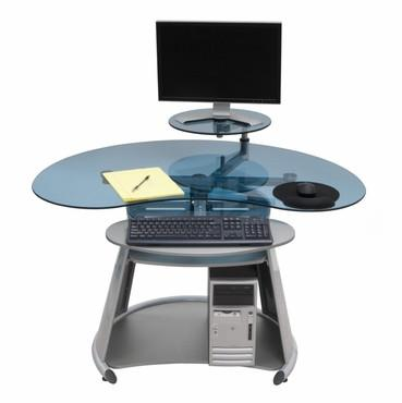 Studio Designs 50350 Neptune Computer Desk / Silver / Blue Glass - Peazz.com