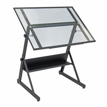 Studio Designs 13346 Solano Adjustable Drafting Table / Charcoal / Clear Glass - Peazz.com