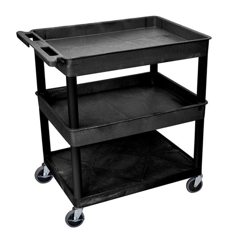 Luxor TC112-B 3 Shelf Large Black Tub Cart - Peazz.com