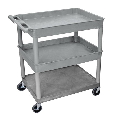 Luxor TC112-G 3 Shelf Large Gray Tub Cart - Peazz.com