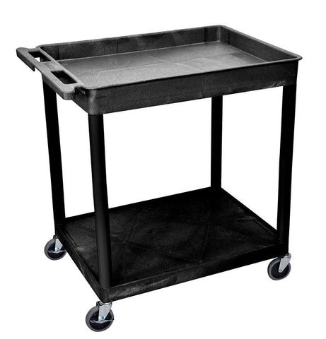 Luxor TC12-B 2 Shelf Large Black Tub Cart - Peazz.com