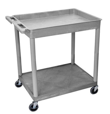 Luxor TC12-G 2 Shelf Large Gray Tub Cart - Peazz.com