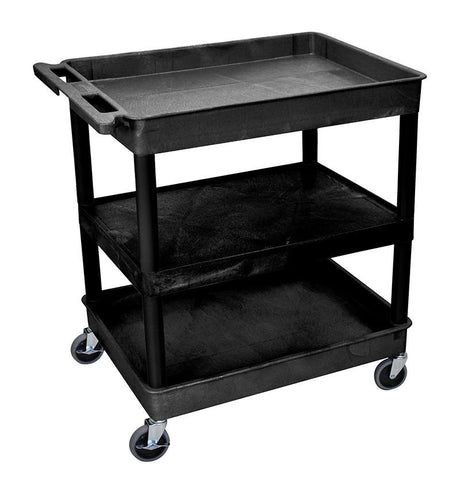 Luxor TC121-B 3 Shelf Large Black Tub Cart - Peazz.com