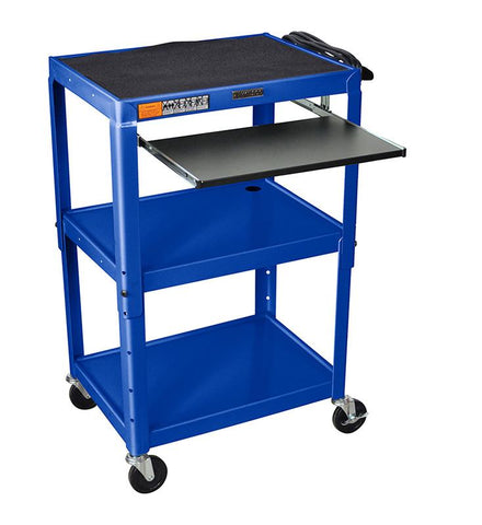 Luxor AVJ42KB-RB Luxor Adjustable Height Blue Metal A/V Cart With Pullout Keyboard Tray - Peazz.com