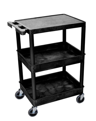 Luxor STC211-B 3 Shelf Black Tub Cart - Peazz.com