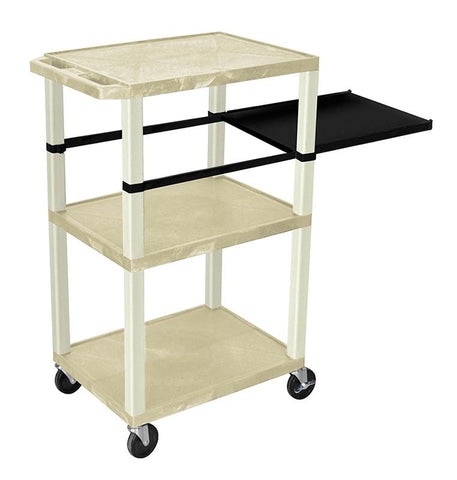 H Wilson WTPSP42OWE H Wilson Tuffy Putty 3 Shelf With Putty Legs & Black Side Pull-out Shelf Presentation Station - Peazz.com